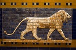 Istanbul Archaeology Museum, glazed brick relief of lion from Procession Street of Babylon, Nebuchadnezzar II period, 604-562 BCE