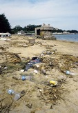 China: Trash and debris on Gulangyu island beach at Xiamen