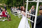 Happy bride and groom at outdoor wedding