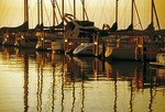 Sail boats in Port Sanilac marina on Lake Huron