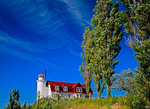 Point Betsie lighthouse on Lake Michigan in spring