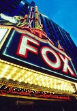 Fox Theater marque on Woodward Avenue in downtown Detroit entertainment district