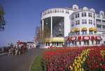 Grand Hotel on Mackinac Island in spring with horse drawn hotel coach
