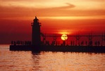 Lake Michigan sunset at South Haven Lighthouse