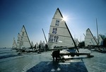 Saginaw Bay DN Class ice yachts in winter near Bay City