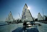 Saginaw Bay DN Class ice yachts in winter near Bay City