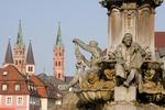 Wurzburg's Franconia Fountain and steeples near Residenz palace