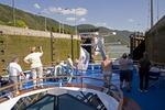 Danube River cruise ship in Jochenstein Lock near Austrian border