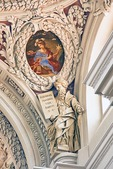 St Stephan Cathedral interior carving and ceiling mural in Passau