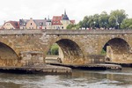 Regensburg Stone Bridge (Steinerne Brucke) over Danube (Donau) River