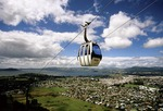 Skyline Spectacular gondola above the town and lake of Rotorua