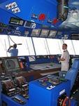 Bridge of cruise ship Diamond Princess with high tech navigation equipment