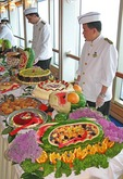 Dessert table on cruise ship Diamond Princess at sea off coast of Mexico