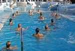 Volleyball in pool on deck of Diamond Princess cruise ship at sea off coast of Mexico