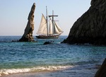 Tourist schooner on cruise around El Arco at Land's End, Cabo San Lucas, Baja California