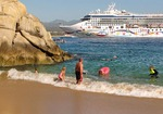 Cruise ship passengers enjoying water sports at Land's End, Cabo San Lucas, Baja California