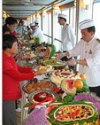 Cruise ship Diamond Princess at sea off coast of Mexico with passengers enjoying dessert buffet