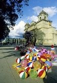 Oaxaca Cathedral on the Zocalo with colorful balloons