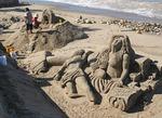 Puerto Vallarta sand sculpture on beach along on El Malecon waterfront