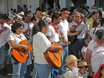 Puerto Vallarta musicians in religious procession to the Cathedral of Our Lady of Guadalupe