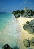 Mayan ruins of Tulum on Yucatan shore of Caribbean Sea