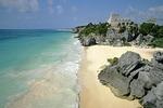 Mayan ruins of Tulum on Yucatan shore of Caribbean Sea