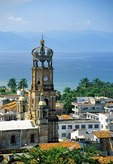 Puerto Vallarta overview with steeple of church of Guadalupe