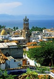 Puerto Vallarta overview with steeple of the church of Guadalupe