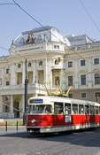 Slovak National Theater with trolley in Bratislava