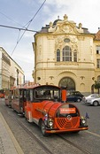 Bratislava's Old Town Ludovit Stur Square with city tours tourist train in front of Reduta Concert Hall