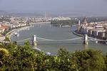 Danube River at Budapest with Szechenyi Chain Bridge in center