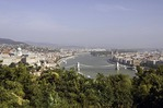 Danube River at Budapest with Szechenyi Chain Bridge in center and Buda's Castle Hill at left