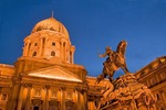 Hungary: Buda's Royal Palace Museum on Castle Hill with equestrian statue of Prince Eugene of Savoy, in Budapest, at night