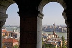 Danube River and Hungarian Parliament in Pest from Fisherman's Bastion on Buda's Castle Hill in Budapest