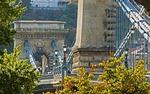 Budapest's Szechenyi Chain Bridge over Danube River from Pest in late afternoon