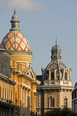 Historic Budapest domed buildings in Pest with cosmopolitan architectural styles near Ferenciek Tere Metro Station