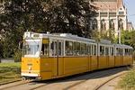 Budapest tram near Hungarian Parliament Building