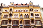 Elegant Pest historic building housing offices of Volksbank in Budapest