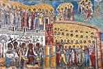 Mural detail of The Last Judgment at Voronet Painted Monastery of Bucovina