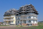 Newly built mansions of a Gypsy (Roma) king and his son near Baia Mare in Transylvania