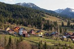 Countryside houses in spring near ski resort in Maramures County of northern Transylvania