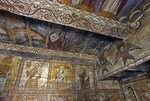 Wooden 14th century Greco-Catholic Church interior religious paintings in Ieud in Maramures County