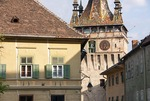Clock tower in the medieval citadel town of Sighisoara (Schassburg in German) in Transylvania