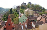 Medieval citadel town of Sighisoara (Schassburg in German). view from Clock Tower toward Church on the Hill