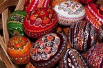 Romanian traditional folk eggs for sale at Humor Painted Monastery in Bucovina