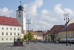 Sibiu's Piata Mare Square pedestrian plaza with Council Tower