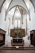 Altar of Tartlau fortified church constructed by Teutonic Knights in 13th century, at Prejmer in Transylvania