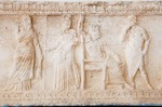 Romania's Histria Museum, Hellenistic marble frieze with Greek dieties Aphrodite, Athens, Zeus, and Hermes