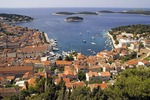 Croatia's Hvar town and harbour viewed from Spanjola fortress above, on island of Hvar