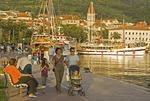 Croatia's Makarska waterfront promenade along harbour on Adriatic